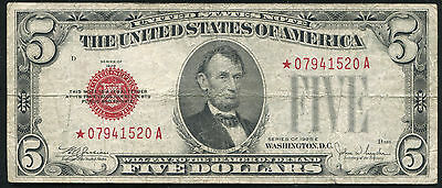Fr. 1530* 1928-E $5 Five Dollars Red Seal *star* United States Note