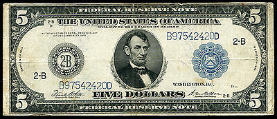 FR 851c 1914 $5 FIVE DOLLARS LARGE SIZE FEDERAL RESERVE NOTE VERY FINE