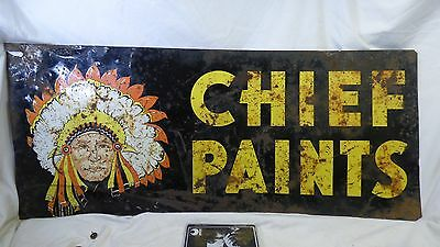 """Vintage 1950-60's Double Sided Chief Paints 12 x 28"""" Metal Sign"""