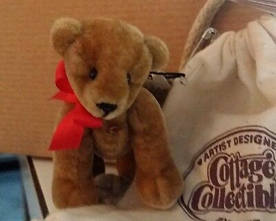 Cottage Collectibles Miniature Jointed Artist Teddy Bear Miguel NWT Bag Cert.Tan
