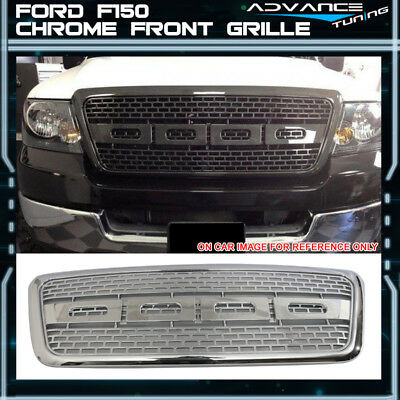 04-08 Ford F150 Raptor Style Front Bumper Grille Hood Grill Chrome