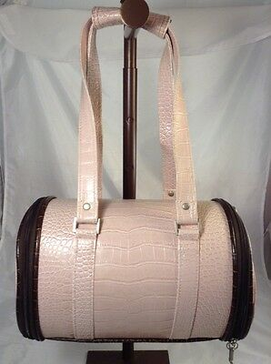 Pink Crocodile Embossed Small Dog Carrier Fur Lining