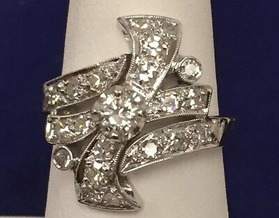 VINTAGE ESTATE NATURAL .84ct DIAMOND 14K WHITE GOLD LARGE COCKTAIL CLUSTER RING
