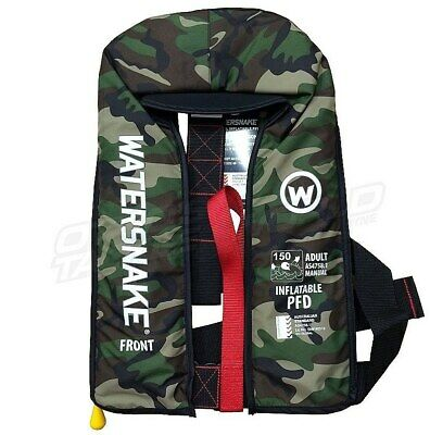 Watersnake Inflatable PFD Life Jacket Level 150 Manual Adult CAMO @ Ottos