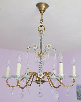 Gorgeous Vintage French 6 Light Glass and Crystal Chandelier with Blue Flowers