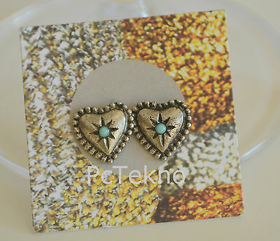 403ab675f Urban Outfitters Silver Tone Heart w/ faux turquoise Stud Earrings NWT