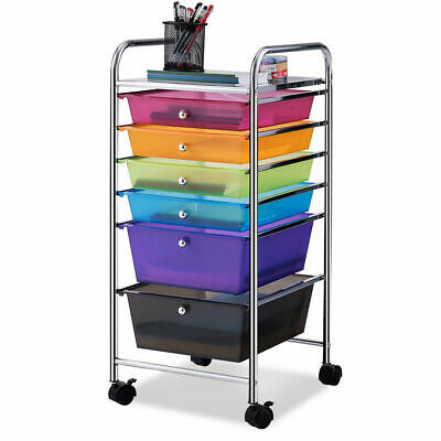 6 Drawer Rolling Storage Cart Tools Scrapbook Paper Office School Organizer New