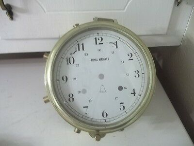 Vintage Parts Repair Royal Mariner Brass Ship Clock Case Only Estate Find 7""