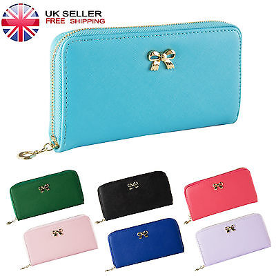 Fashion Women Leather Wallet Bowknot Clutch Zip Card Holder Long Purse Hand Bag