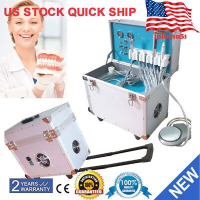 Dental Delivery Unit Rolling Case Curing Light+Ultrasonic Scaler 4 Hole Portable