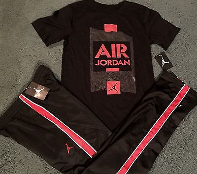 NWT Nike Air Jordan Boys YLG Black//White//Gold BASKETBALL Pants Set Large
