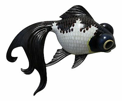 Fancy White and Black Goldfish Childs Room Bath 6 Inch Wall Decor