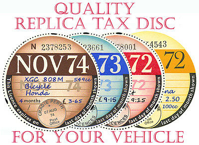 "Tax Discs' 4 Quality Replicas"" For  Discerning Owners.all Years From 1921-2020:"