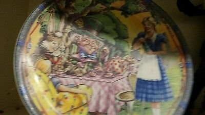 Alice in Wonderland collectable plate James Sandler metal stand made in England