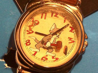 Tom & Jerry MALLOT Moveable Watch WARNER Bros in Original Box WORKING