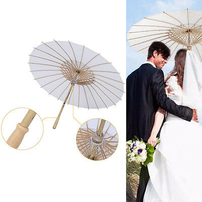 White Paper Parasol Bamboo Umbrella Wedding Stage Scene Cosplay Filming DIY Art