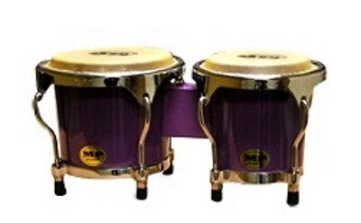 "PERCUSSION 4-5"" inch PURPLE MINI BONGO DRUMS PAIR NATURAL SKINS BONGOS BRAND NEW"