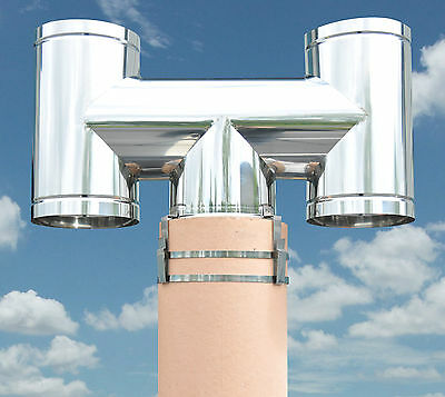 Smart H Updraught Chimney Cowl available in S/Steel, Black, Cream & Terracotta