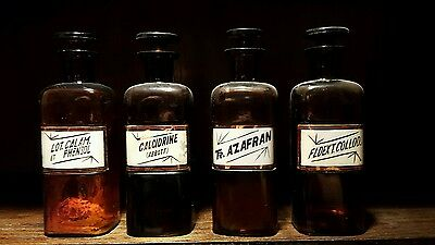 Lot of 4 antique brown 8 in. LUG apothecary bottles PRICE REDUCED!