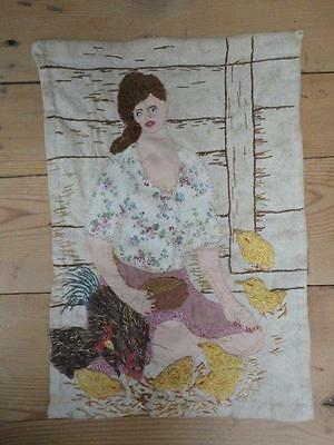 Vintage Embroidery Needlework Picture Collage Woman Feeding Hens and Chickens