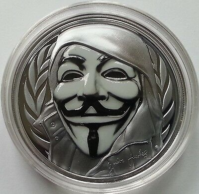 Guy Fawkes Mask (Anonymous) $5 1oz Proof Fine Silver Coin Cook Islands 2016
