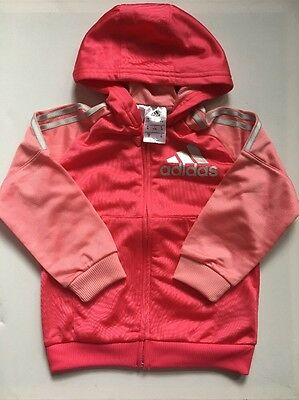 Adidas Girls Three Stripe Poly Tracksuit Jacket Pink/light Pink/Silver 2-3