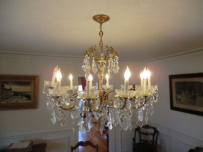 Antique Hand-cut Crystal and Gilded Chandelier