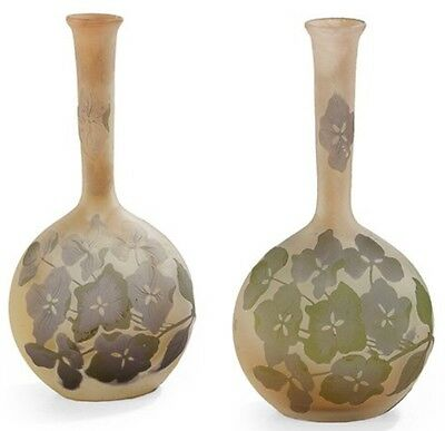 Emile Galle Pair Of French Cameo Banjo Cabinet Vases, circa 1900