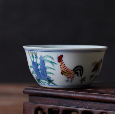 Chinese Jingdezhen Blue And White Porcelain Tea Cup Handpainted chicken 80cc