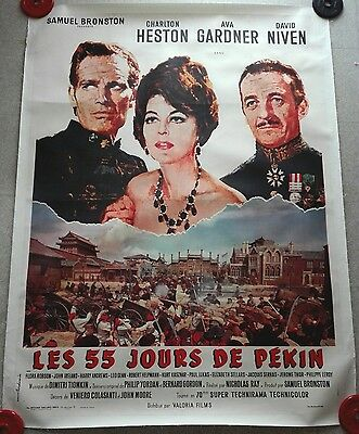 1963 55 DAYS AT PEKING Niven Heston Gardner French 47x63 LINEN film poster