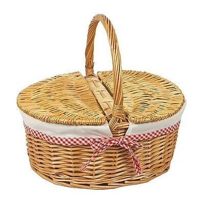 Oval Natural Willow Wicker Picnic Hamper Shopping Storage Basket W/Carry Handle