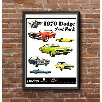 Dodge Scat Pack Muscle Cars Poster - 1970 Challenger Charger Dart Coronet