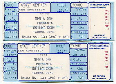 Two Complete, Unused & Matching Tickets: 1987 MOTLEY CRUE Concert [Tacoma Dome]
