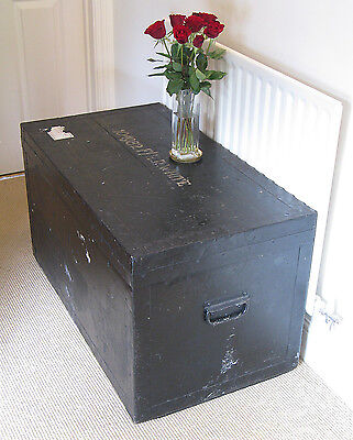 Early 20th Century Zinc-Lined Painted Pine Kit Trunk Army & Navy CSL