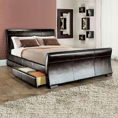 FURNITUREireland. 4 DRAWERS LEATHER STORAGE SLEIGH BED DOUBLE OR KING SIZE BEDS