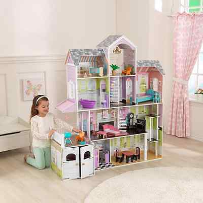 Grand Estate Doll house + 26 Pieces of Furniture - Ages 3+ - Wooden Dollhouse