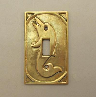 Unique Brass Dolphin Light Switch Cover Ancient Style Nautical Coastal Beach