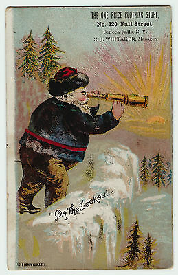 RARE - Blue Coat Santa Claus - 1880 Advertising Trade Card - Seneca Falls NY