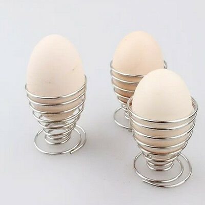 Kitchen Metal Spring Wire Tray Egg Cup Boiled Eggs Holder Stand Storage