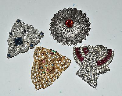 Vtg Dress Scarf Clip lot of 4 Rhinstone Clips Deco Silver and Gold