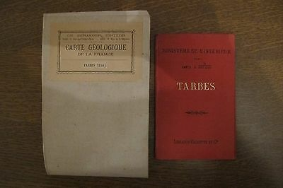 LOT TARBES carte geologique entoilee + TARBES PYRENEES ANCIENNES