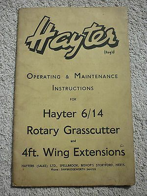 Hayter 6/14 Rotary Grasscutter Operating Instructions (4Ft Wing Extensions 6 14)