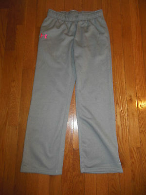 Under Armour Girl's Gray/Pink  Loose Athletic Sweat Pants, Sz YLG storm