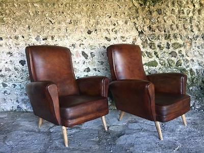Pair Vintage Scandi Conker Leather Club Chairs Ercol Juhl C1950 Antc1950 Vintage