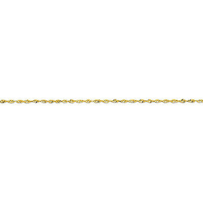 14k Yellow Gold 1.5mm Solid, Diamond-Cut,Lightweight Rope Chain Anklet