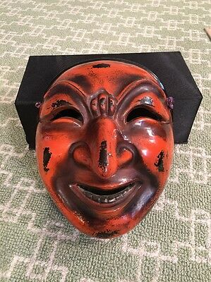 FINE Japanese carved Lacquer Old Wooden Vintage Signed Noh Mask good condition