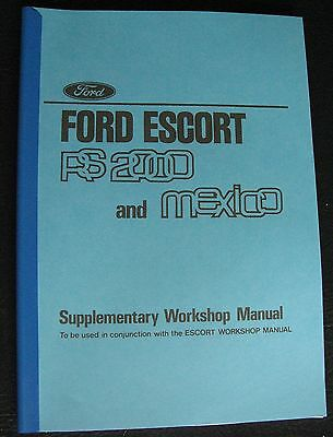 Ford Escort Rs2000 Mexico Supplimentry Manual  Brochure Rs Mk 2