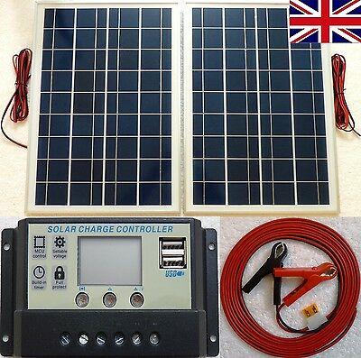 25w x 2 (50w)Solar Panel + 10A LCD 12V 24V battery charger 2 x 5V USB +10m cable