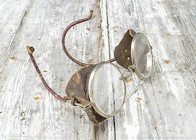 Vintage Steampunk Willson Leather Sided Round Lens Motorcycle Safety Glasses
