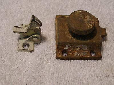 2 Old Vintage Cupboard Gate Coop Cabinet Latches Rusty, Painted, But Works Well